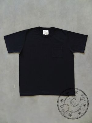 FULLCOUNT - 5805P-20 - BASIC POCKET T-SHIRT - FLAT SEAMER sewn - Black Color - 100% Cotton - ATHLETIC WEAR