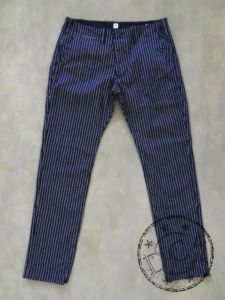 Pure Blue Japan - 1162-1 - Indigo Pinstripe - Curved Pockets Trousers - Slim Tapered