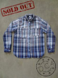 Pure Blue Japan - 2211-1 Flannel Check Shirt - Indigo x Red