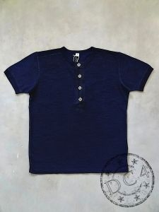 Pure Blue Japan - SS5386 - Indigo Dyed - Slub Jersey Henley - Crew Neck - T-Shirt