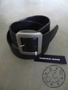 "Samurai Jeans - A101-01 - ""TOCHIGI"" Leather Belt - Brass Garrison Buckle - Black"
