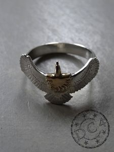 First Arrow`s - Silver Eagle Ring with Gold Head