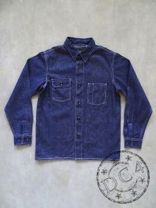FULLCOUNT - 4038 - VINTAGE WORKER`S SHIRT - 10oz Selvedge Denim - 100% Zimbabwe Cotton - One Washed