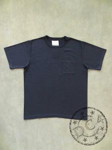 FULLCOUNT - 5805P-20 - BASIC POCKET T-SHIRT - FLAT SEAMER sewn - Ink Black Color - 100% Cotton - ATHLETIC WEAR