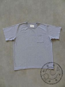 FULLCOUNT - 5805P-20 - BASIC POCKET T-SHIRT - FLAT SEAMER sewn - Heather Gray Color - 100% Cotton - ATHLETIC WEAR