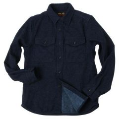 UES - 15.5oz Extra Heavy Flannel Shirt - Selvedge - Indigo 501953 - ONE OF THE HEAVIEST FLANNELS !