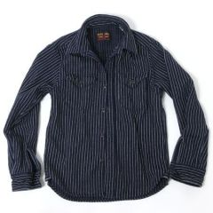 UES - 14.5oz Super Heavy Flannel Shirt - Selvedge - Indigo Striped - 501656
