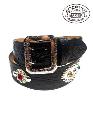 ACE WESTERN BELTS - Style No.180H with 50's Jewels - Handmade Vintage Reproduction Studded Jeweled Cowboy Western Belt